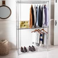 "happimess Katherine 78.7"" Double-Bar Garment Rack and Shelving Unit, Chrome"