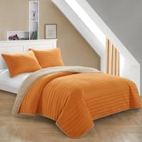 Orange Reverse To Tan Quilt Set