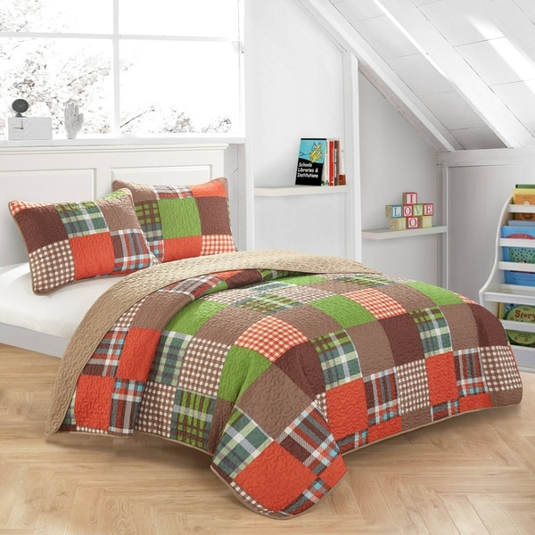 Lime Plaid Patchwork Quilt Set