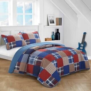 Blue Plaid Patchwork Quilt Set