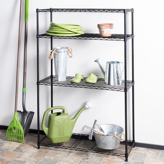 "happimess Hadley 53"" 4-Shelf Wire Rack, Black"