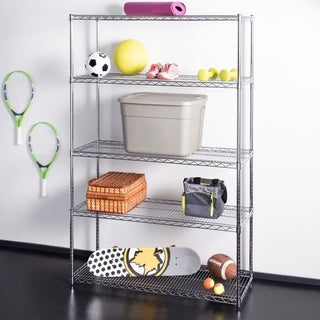 "happimess Charlotte 72.8"" 5-Shelf Wire Rack, Chrome"