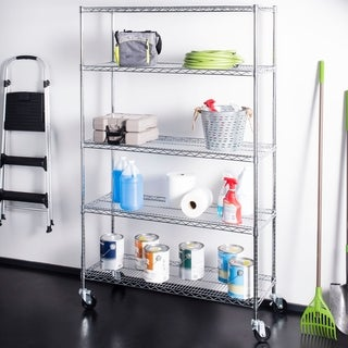 "happimess Nathalie 70.8"" 5-Shelf Wire Rack, Chrome"