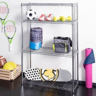"happimess Ryan 53"" 4-Shelf Wire Rack, Chrome"