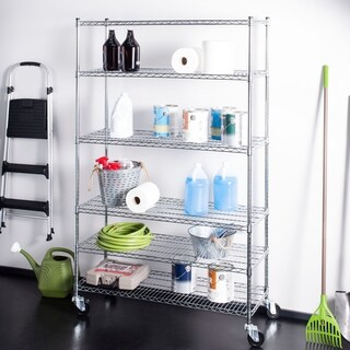 "happimess Detroit 76"" 6-Shelf Rolling Wire Rack, Chrome"
