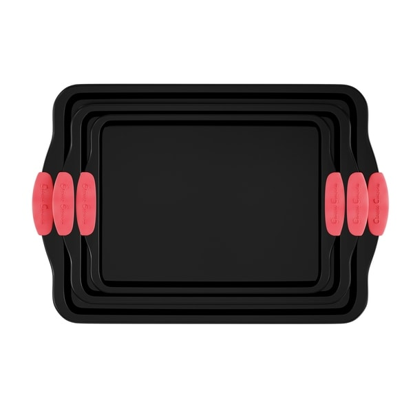 Baking Pans-3PC. Nonstick Cookie Sheet Set, Silicone Handles by Classic Cuisine. Opens flyout.