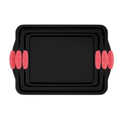 Baking Pans-3PC. Nonstick Cookie Sheet Set, Silicone Handles by Classic Cuisine