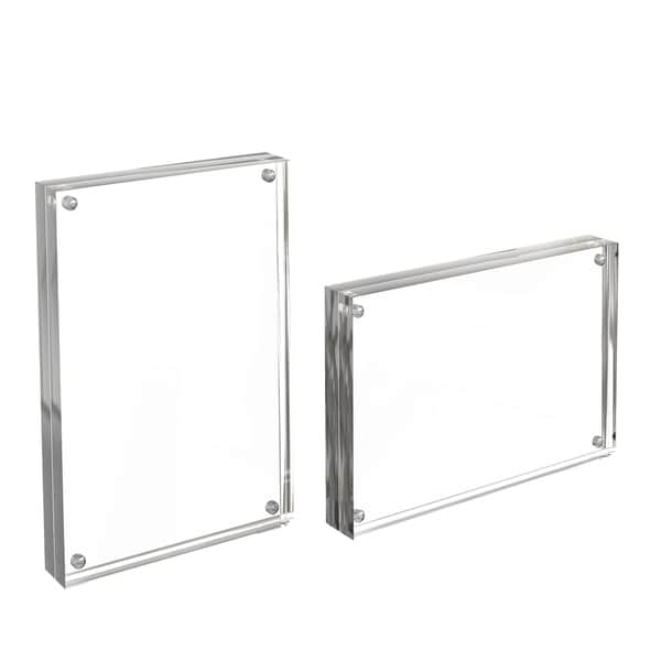 Acrylic Picture Frames 4x6 Clear Freestanding Frame Set of 2 by Lavish Home