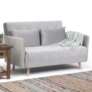 Carson Carrington Kangsta Dove Grey Velvet Fold-Out Compact Sofa Bed - 52 x 34.6 x 33.1