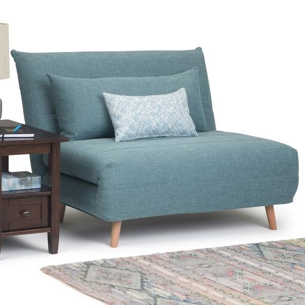 Wyndenhall Gallo Contemporary 42 Inch Wide Sofa Bed In Dark Cyan Linen Look Fabric