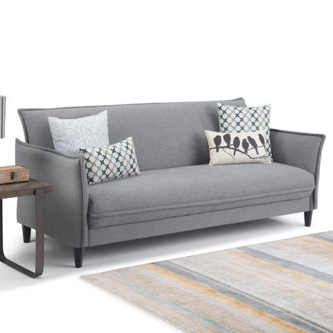 "WYNDENHALL Kichler Contemporary 81 inch Wide Sofa Bed in Slate Grey Linen Look Fabric - 80.7""W x 33.1""H x 35.4""D"