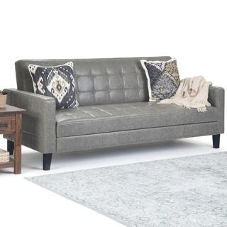 Faux Leather Sleeper Sofa Living Room Furniture Find