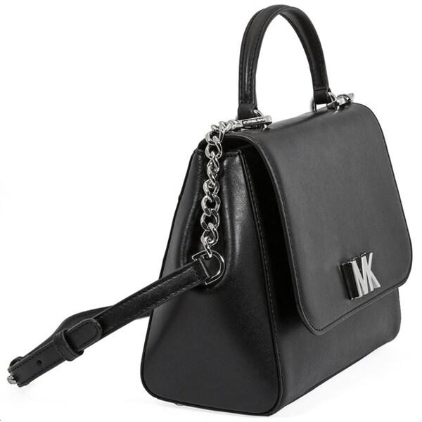 MICHAEL KORS Mott Medium Smooth Leather Satchel Black