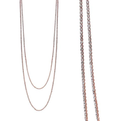 "18k Rose Gold Plated 2 Row 47"" Adjustable Lariat Necklace With Clear Elements"