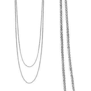 "Rhodium Plated 2 Row 47"" Adjustable Lariat Necklace With Clear Elements"