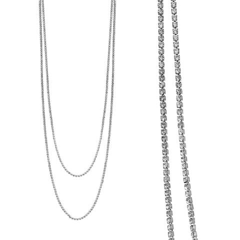 """Rhodium Plated 2 Row 47"""" Adjustable Lariat Necklace With Clear Elements"""