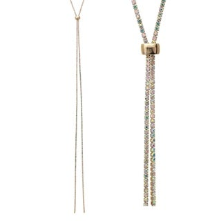 """18k Gold Plated 47"""" Adjustable Lariat Necklace With AB Elements"""