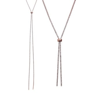 "18k Rose Gold Plated 47"" Adjustable Lariat Necklace With Clear Elements"