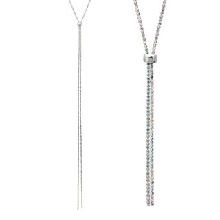 """Rhodum Plated 47"""" Adjustable Lariat Necklace With AB Elements"""