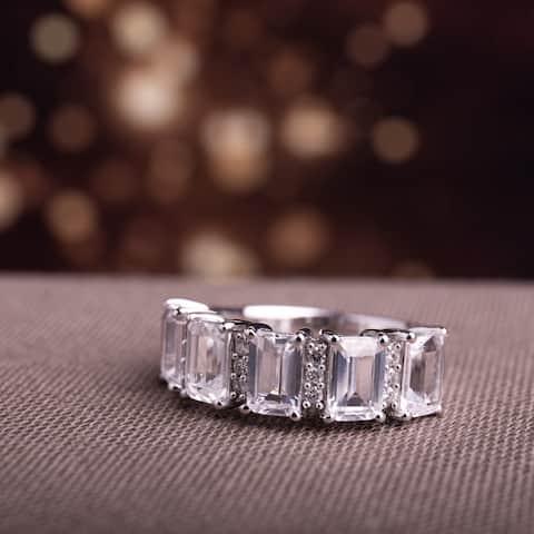 Miadora 10k White Gold Created White Sapphire and 1/10ct TDW Diamond Octagon-Cut Anniversary Band