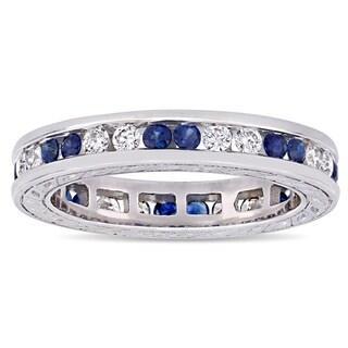 Miadora 18k White Gold Blue Sapphire and 2/5ct TDW Diamond Full-Eternity Band