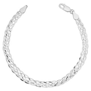 Sterling Silver 5.1 millimeters Braided Serpentine Bracelet (7.5 inches) - White