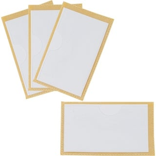 Storex Label Pockets with Adhesive Backing, 3 x 5 Inches, 4-Pack