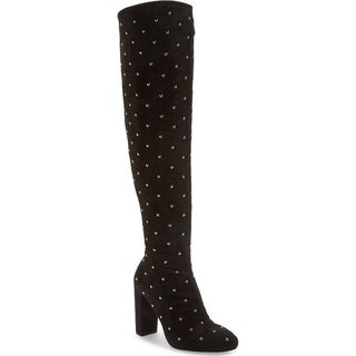 Jessica Simpson Bressy Black Suede Covered Stud Over The Knee Chunky Heel Boot