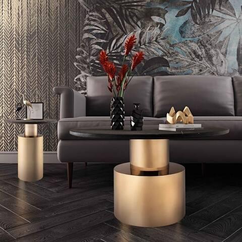 Terzo Black Marble Side Table