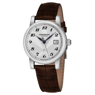 Mont Blanc Men's 107315 'Star Date' Silver Dial Brown Leather Strap Swiss Automatic Watch