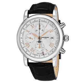 Mont Blanc Men's 113880 'Star' Silver Dial Black Leather Strap Chronograph Swiss Automatic Watch