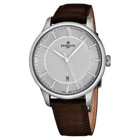 Perrelet Men's A1073/4 'First Class' Silvery/White Dial Brown Leather Strap Automatic Watch
