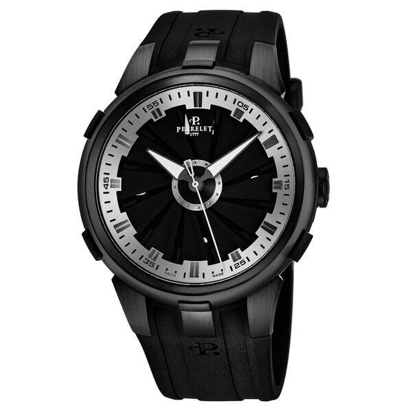 Perrelet Men's A1051/10 'Turbine XL' Black Dial Black Rubber Strap Automatic Watch
