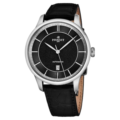 Perrelet Men's A1073/5 'First Class' Black Dial Black Leather Strap Automatic Watch