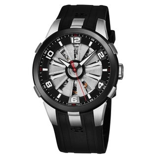 Perrelet Men's A1082/1 'Turbine Skeleton' Silver Skeleton Dial Black Rubber Strap Automatic Watch
