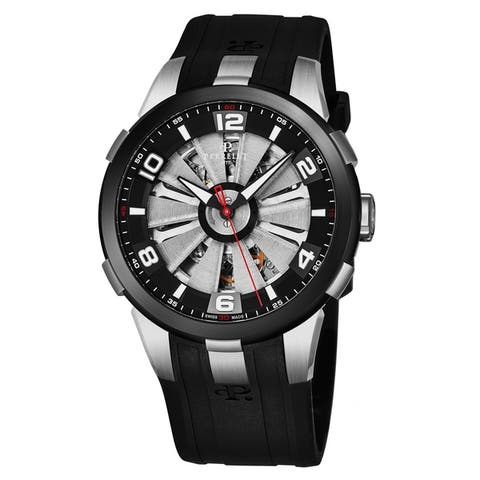 Perrelet Men's A1082/1 'Turbine Skeleton' Silver Skeleton Dial Black Rubber Strap Automatic Watch