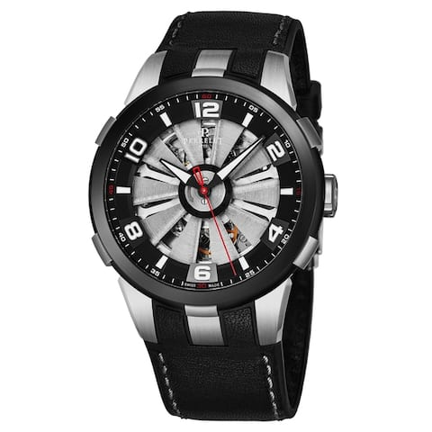 Perrelet Men's A1082/1A 'Turbine Skeleton' Silver Skeleton Dial Black Leather Strap Automatic Watch