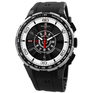 Perrelet Men's A1075/1 'Turbine Chrono' Black/White Dial Black Rubber Strap Automatic Watch