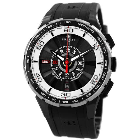 Perrelet Men's A1075/1 'Turbine Chrono' Black/White Dial Black Rubber Strap Automatic Watch
