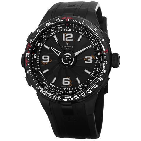 Perrelet Men's A1086/1 'Turbine Pilot' Black Dial Black Rubber Strap Slide Rule Automatic Watch