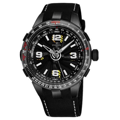 Perrelet Men's A1086/1A 'Turbine Pilot' Black Dial Black Leather Strap Slide Rule Automatic Watch