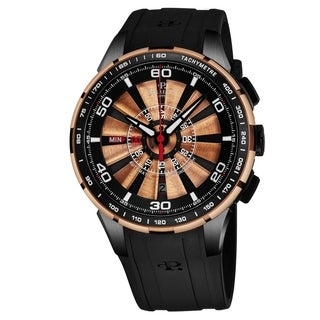 Perrelet Men's A3036/2 'Turbine Chrono' Black Dial Black Rubber Strap Automatic Watch