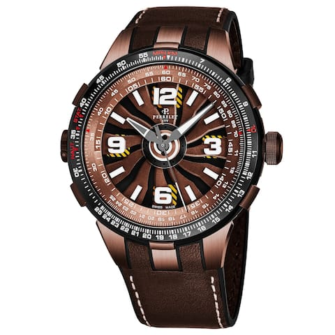 Perrelet Men's A1094/1A 'Turbine Pilot' Brown Turbine Dial Brown Leather Strap Automatic Watch