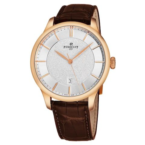 Perrelet Men's A3044/1 'First Class' Silver Dial Brown Leather Strap 18K Rose Gold Automatic Watch