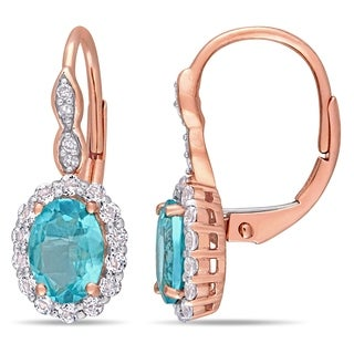 Miadora 14k Rose Gold Oval-Cut Apatite White Topaz and Diamond Halo Leverback Earrings