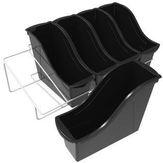 Storex Small Book Bins, Set of 5, Metal Shelf Rack Included