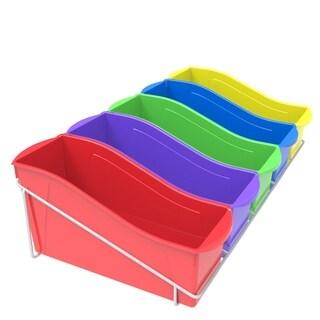 Storex Large Book Bins, Set of 5, Metal Shelf Rack Included, Assorted Colors