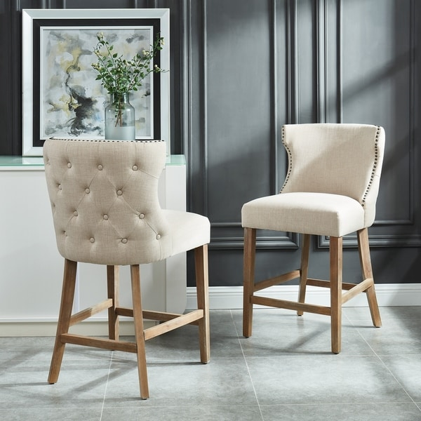 Shop Tufted Back Counter Stool With Nailhead Detail Set