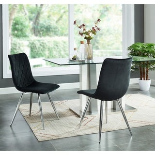 Contemporary Velvet/Chrome Side Chair,Set of 2