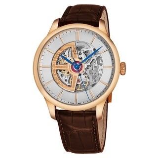 Perrelet Men's A3050/1 Silver Skeleton Dial Brown Leather Strap 18K Rose Gold Double Rotor 20 Years Automatic Watch